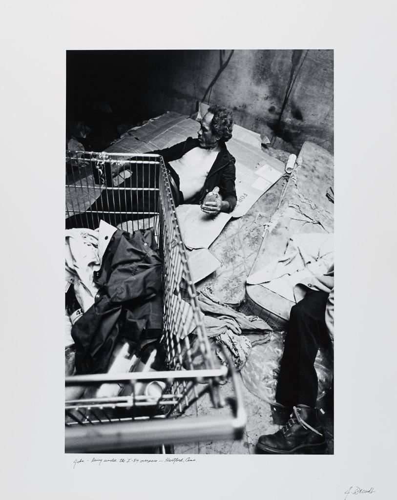 John-living under the I-84 overpass, Hartford, Conn., 1985